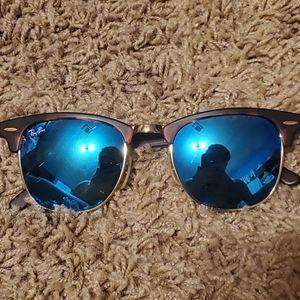 Ray-Ban Tortoiseshell Clubmasters Blue Lenses